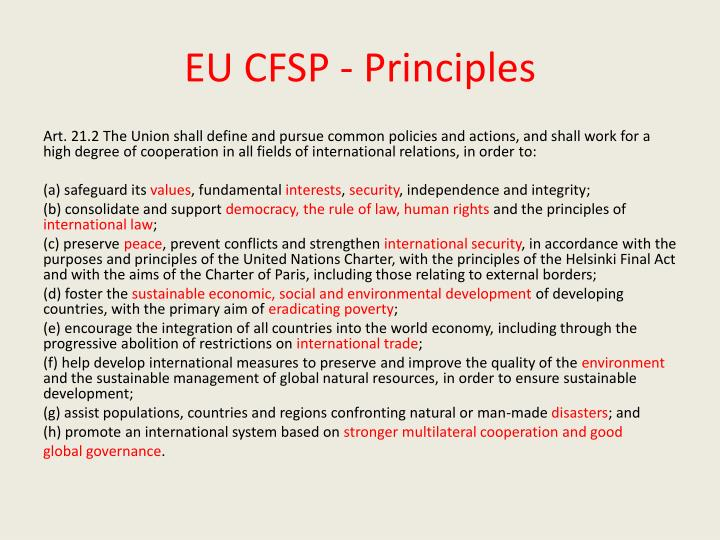 EU CFSP - Principles