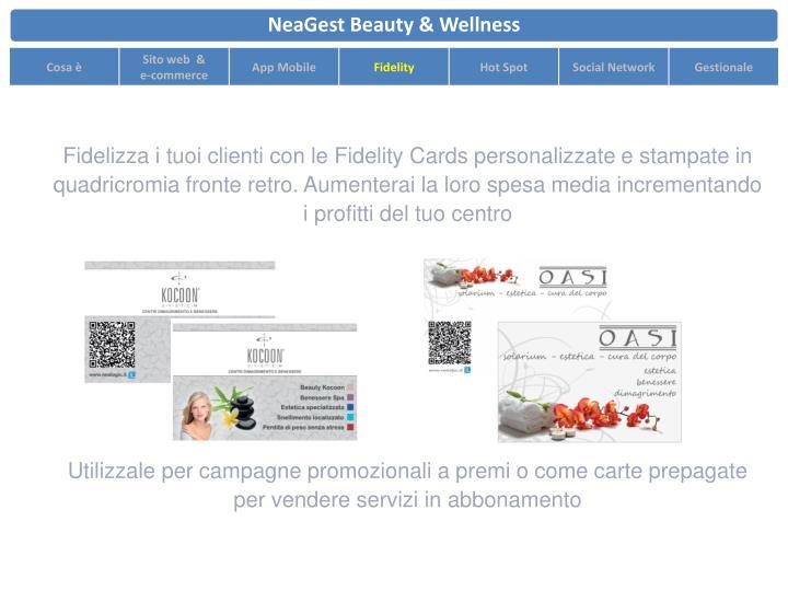Fidelizza i tuoi clienti con le Fidelity Cards personalizzate e stampate in quadricromia fronte retro. Aumenterai la loro spesa media incrementando i profitti del tuo centro