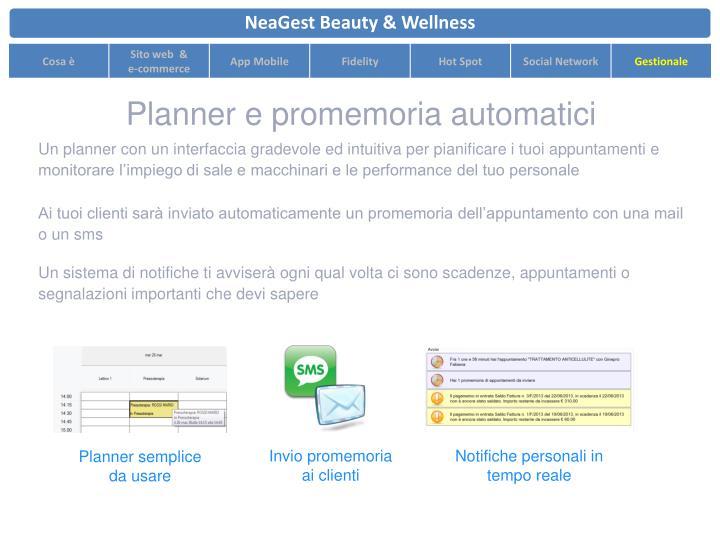 Planner e promemoria automatici