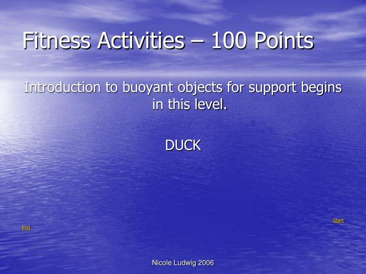 Fitness activities 100 points