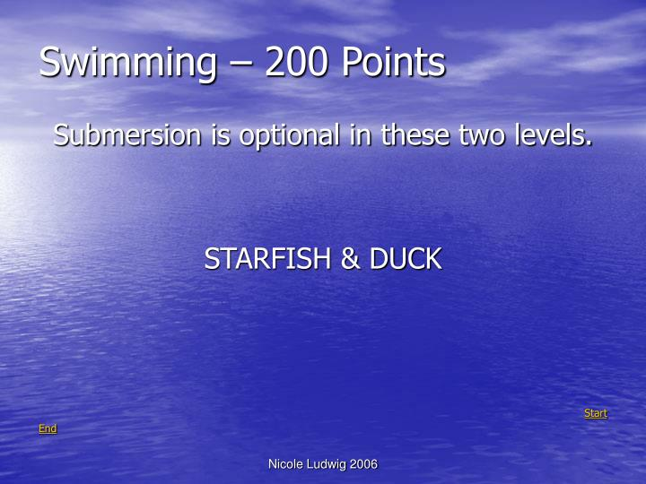 Swimming – 200 Points