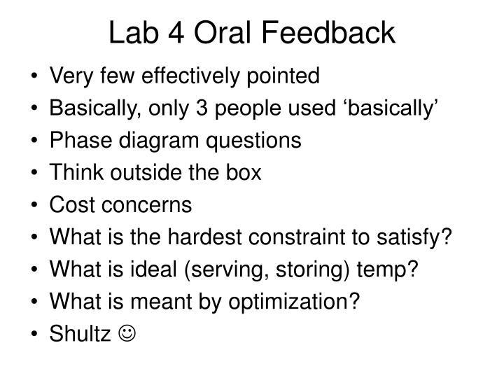 Lab 4 oral feedback