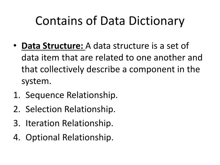 Contains of Data Dictionary