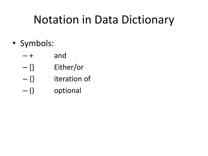 Notation in Data Dictionary