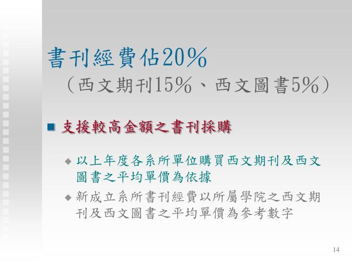 書刊經費佔20%