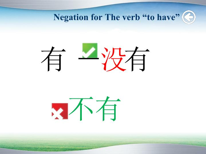 "Negation for The verb ""to have"""