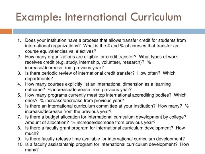 Example: International Curriculum