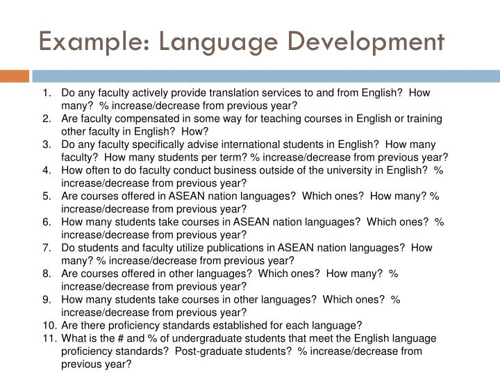 Example: Language Development