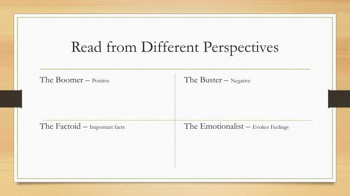 Read from Different Perspectives