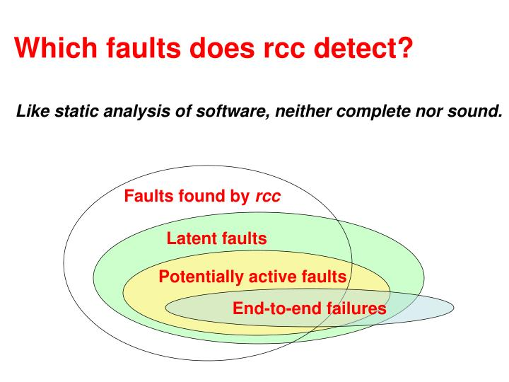 Which faults does rcc detect?