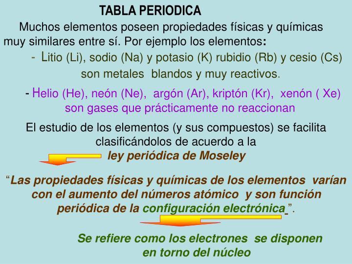 tabla periodica muchos elementos poseen propiedades fsicas y qumicas