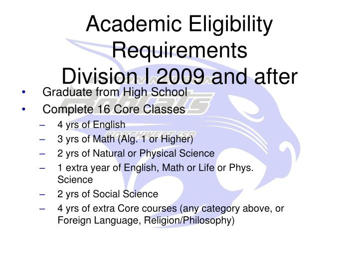 Academic Eligibility Requirements