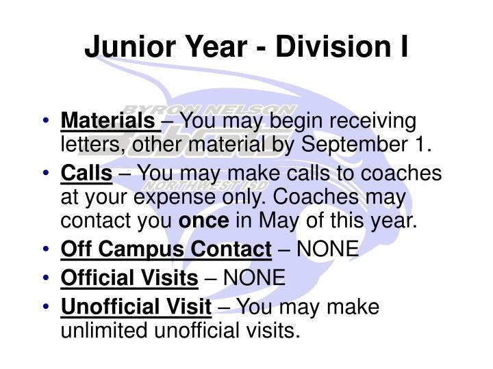 Junior Year - Division I