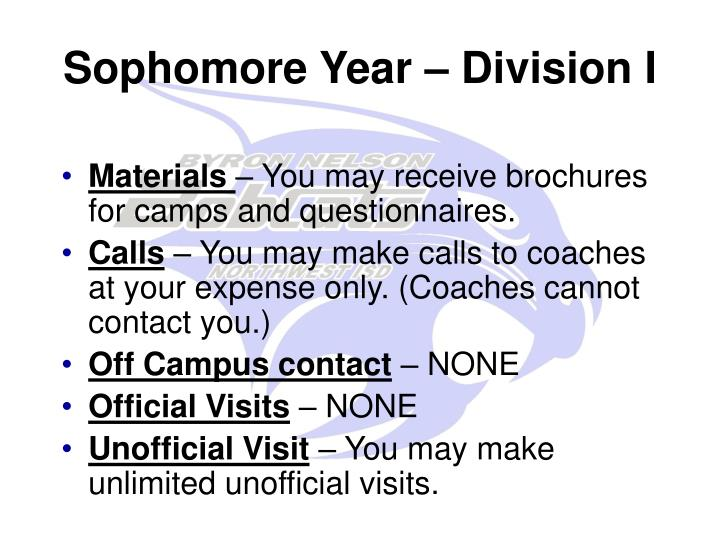 Sophomore Year – Division I