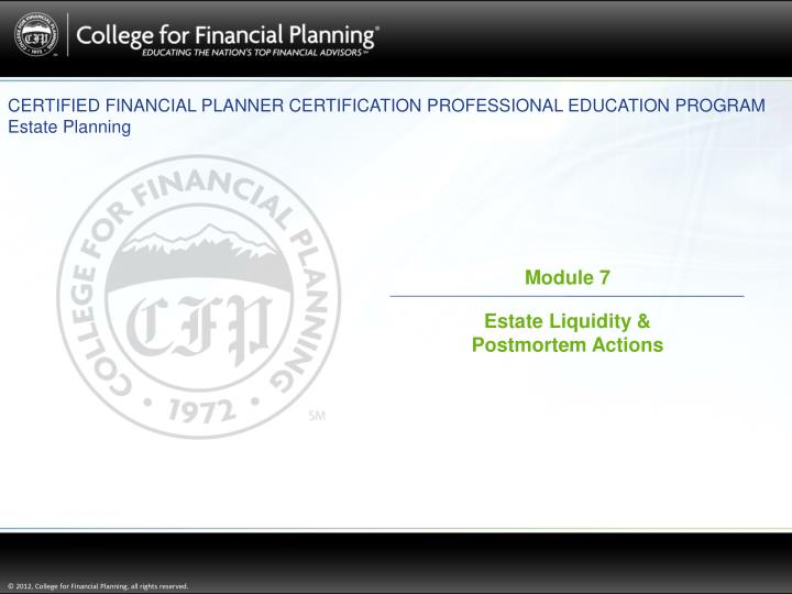 PPT - CERTIFIED FINANCIAL PLANNER CERTIFICATION PROFESSIONAL ...