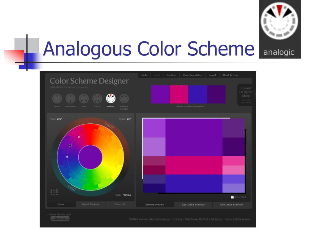 Color Scheme Designer ppt - colors and backgrounds powerpoint presentation, free