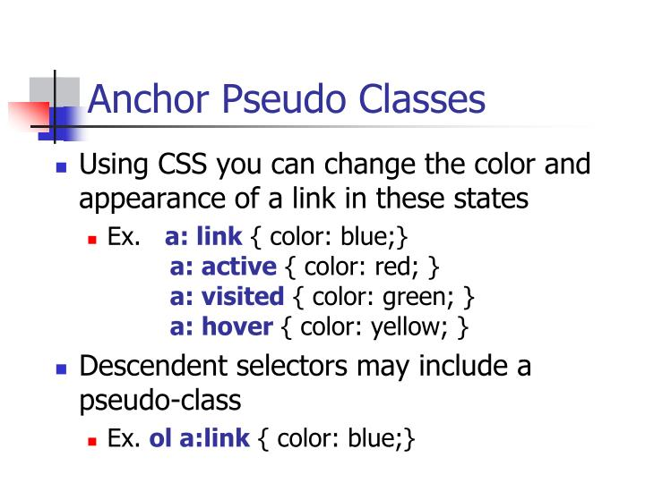 Anchor Pseudo Classes