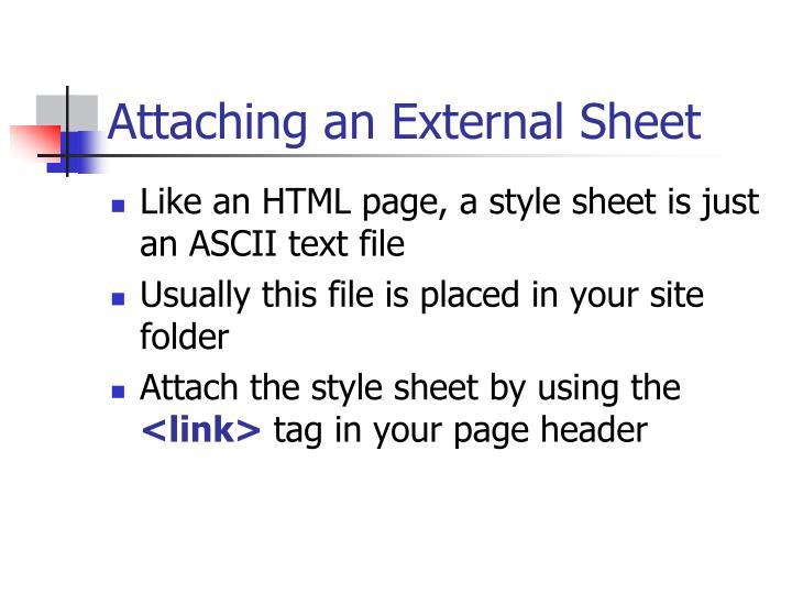 Attaching an External Sheet