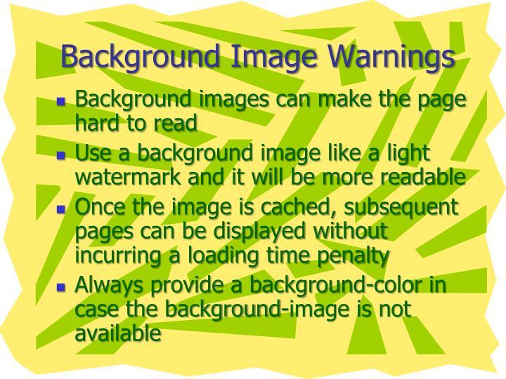 Background Image Warnings