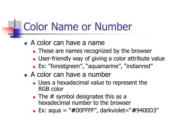 Color Name or Number