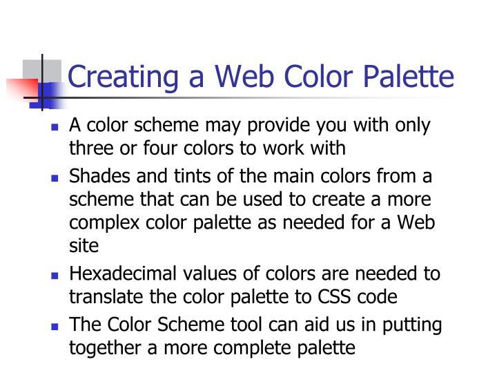 Creating a Web Color Palette