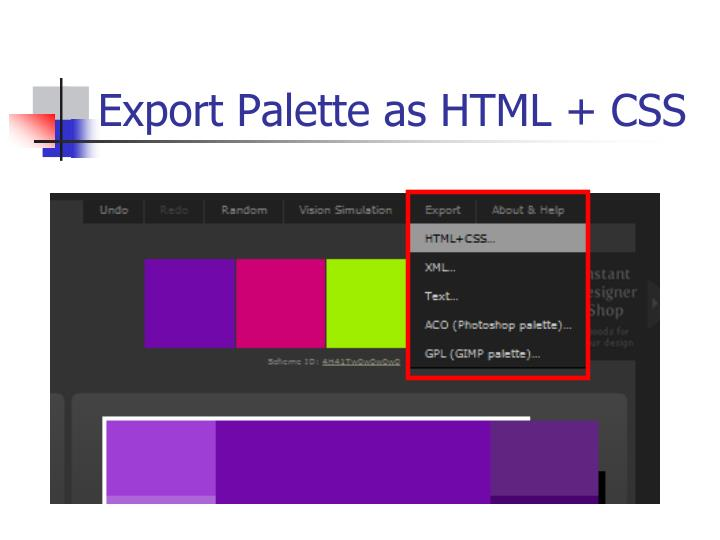 Export Palette as HTML + CSS