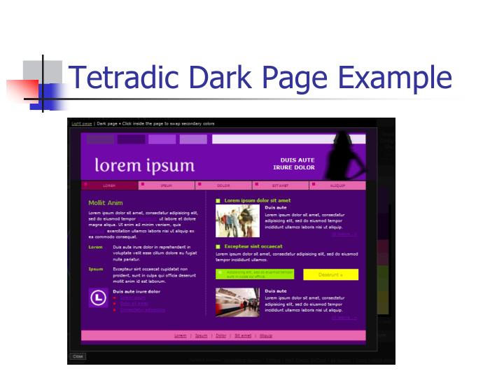 Tetradic Dark Page Example