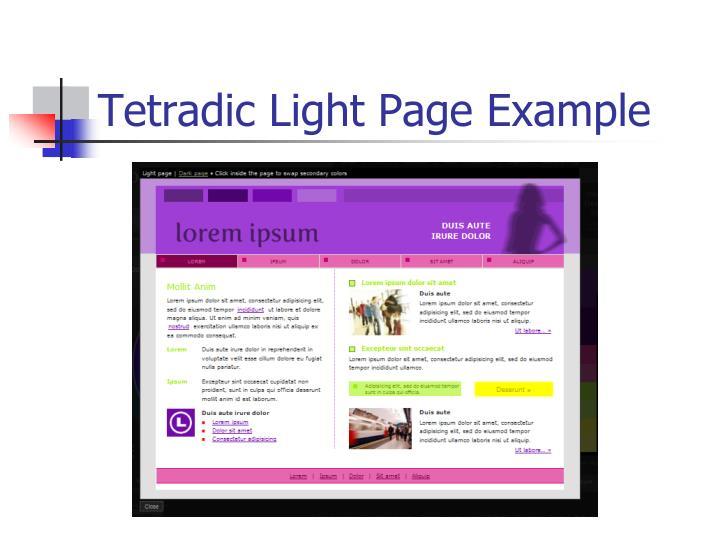 Tetradic Light Page Example
