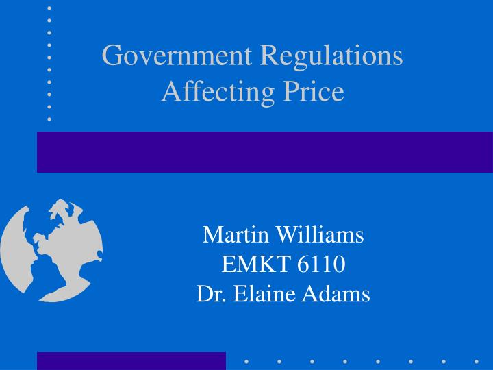 government regulations affecting price n.
