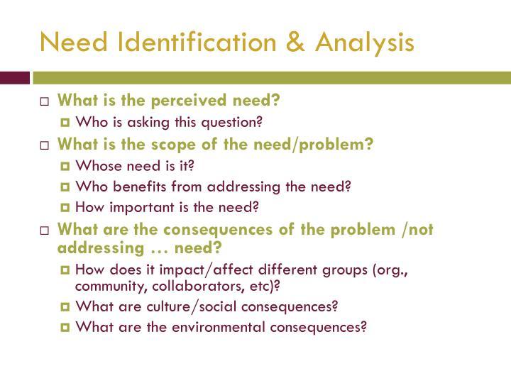 Need Identification & Analysis