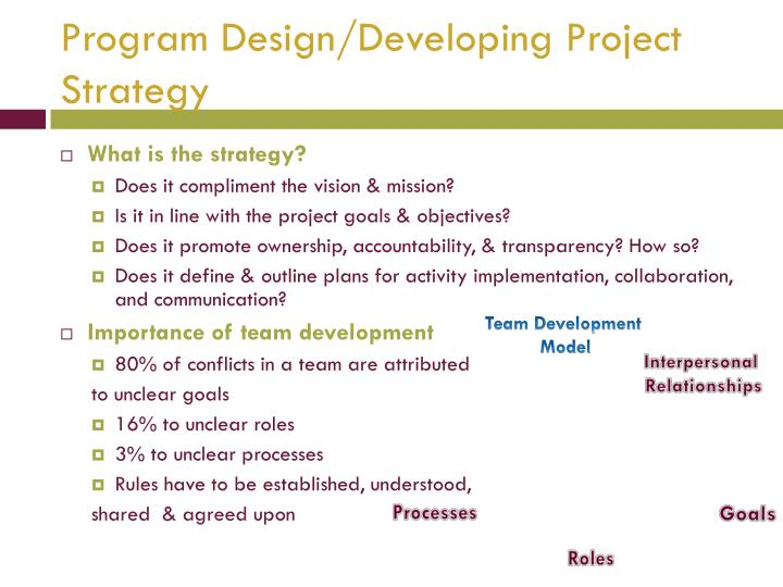 Program Design/Developing Project Strategy
