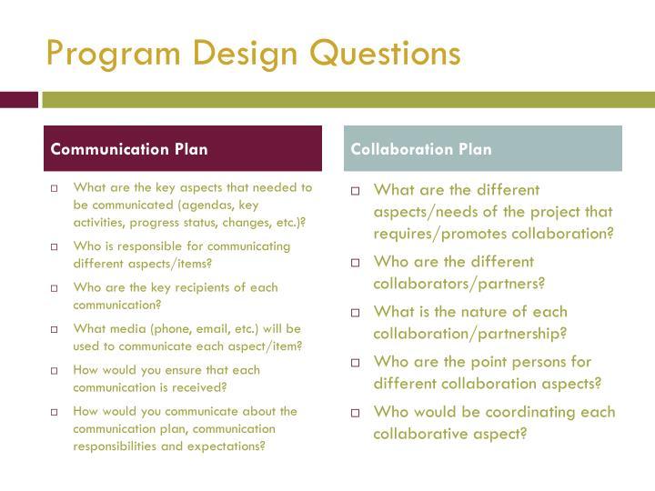Program Design Questions