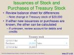 issuances of stock and purchases of treasury stock