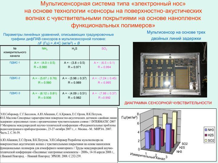Мультисенсорная система типа «электронный нос»