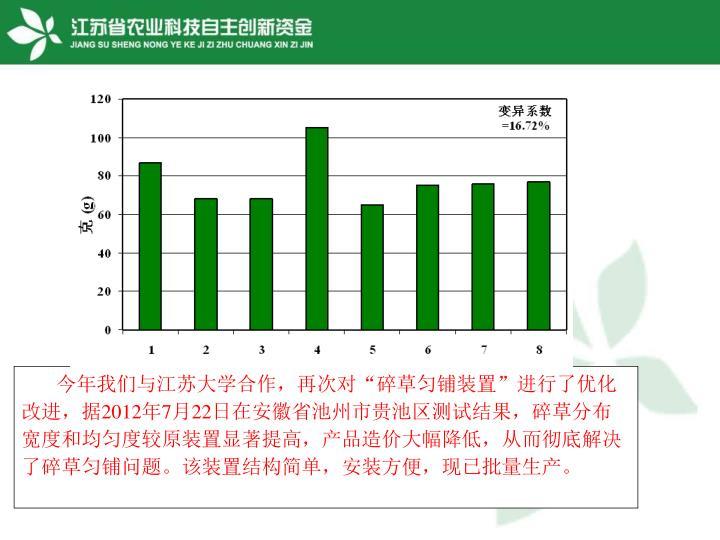 """今年我们与江苏大学合作,再次对""""碎草匀铺装置""""进行了优化改进,据"""