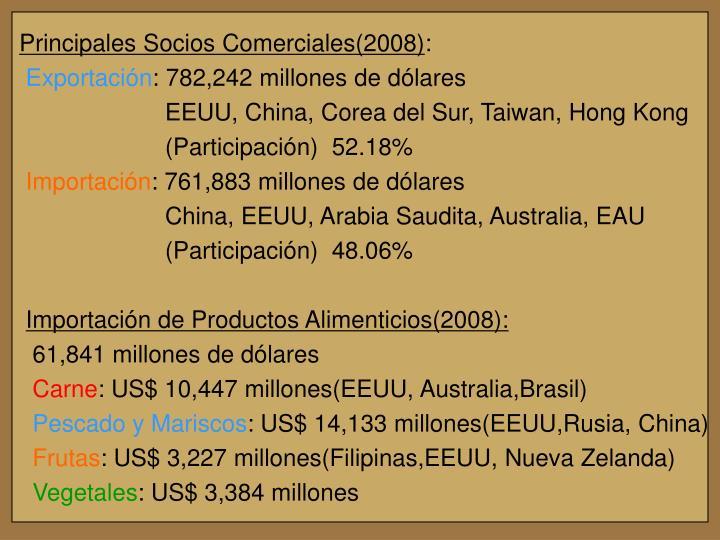 Principales Socios Comerciales(2008)