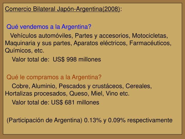 Comercio Bilateral Japón-Argentina(2008)