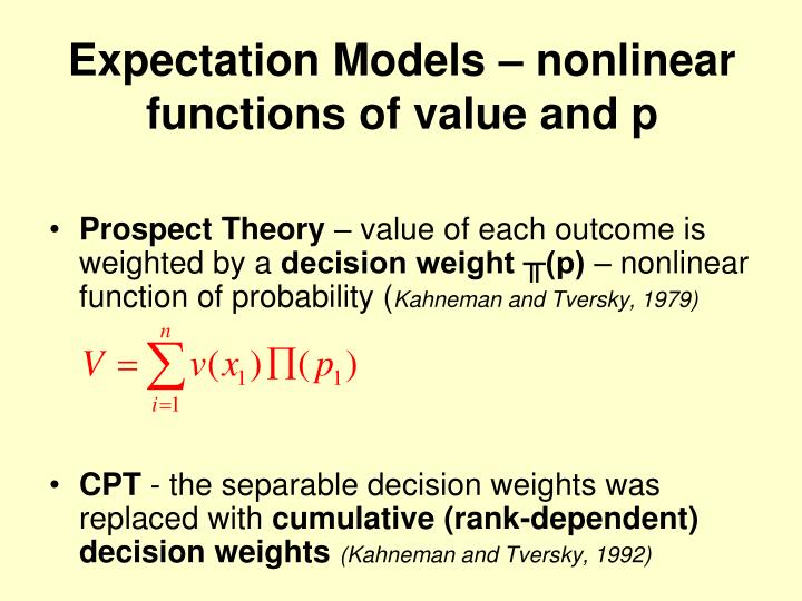 Expectation models nonlinear functions of value and p
