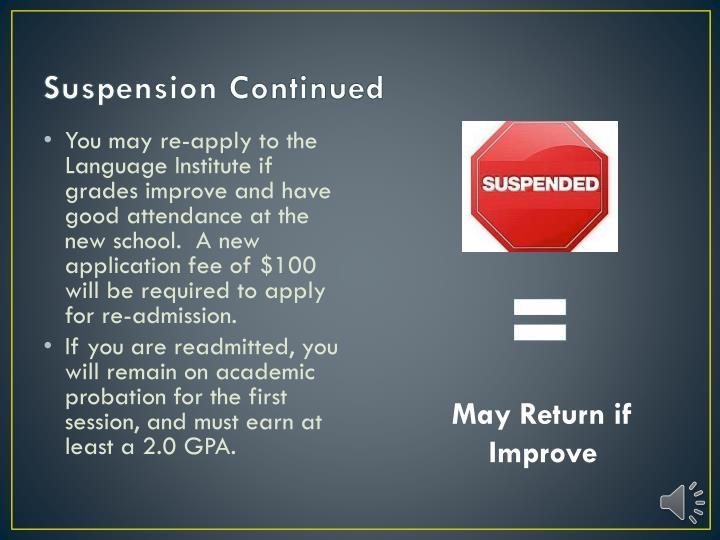 Suspension Continued
