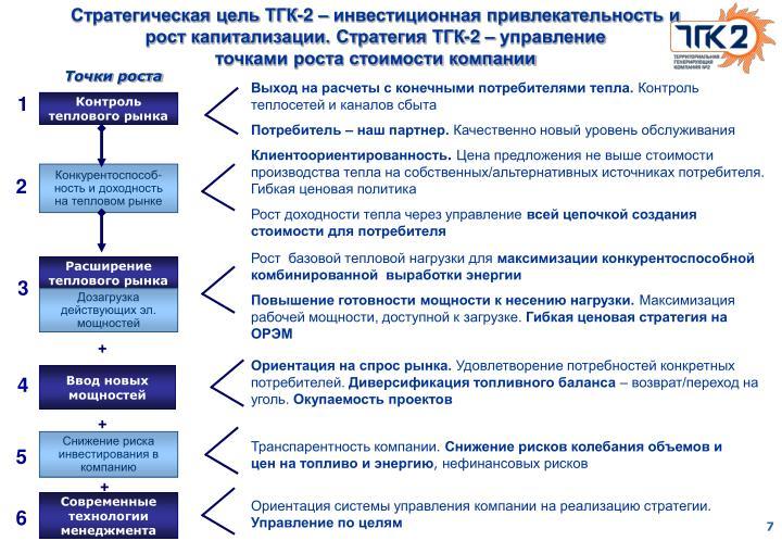 Стратегическая цель ТГК-2 – инвестиционная привлекательность и рост капитализации. Стратегия ТГК-2 – управление