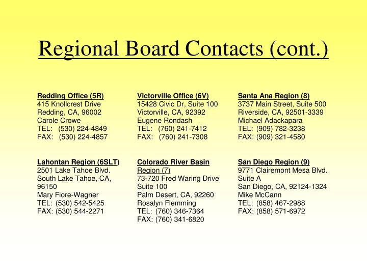 Regional Board Contacts (cont.)
