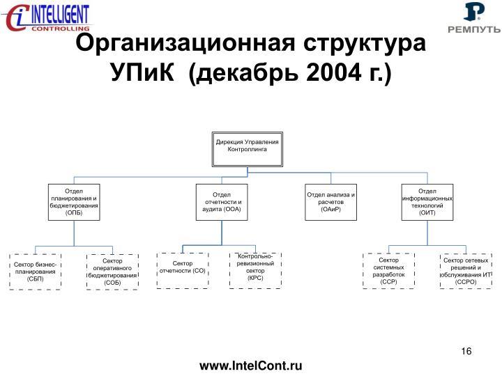 Организационная структура УПиК  (декабрь 2004 г.)