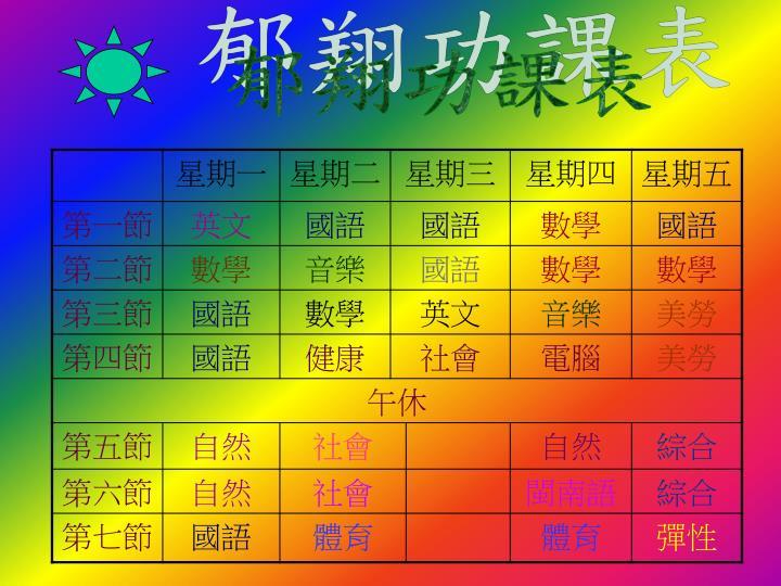 郁翔功課表