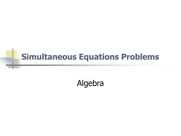 simultaneous equations problems n.