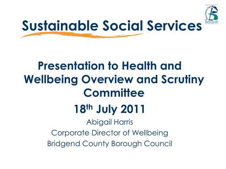 Sustainable social services