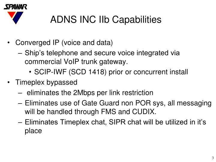 Adns inc iib capabilities