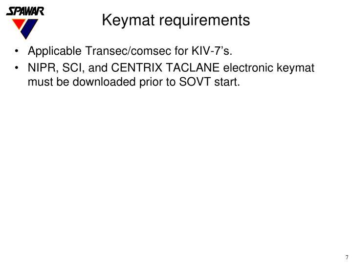 Keymat requirements