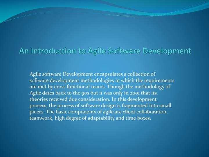 an introduction to agile software development n.