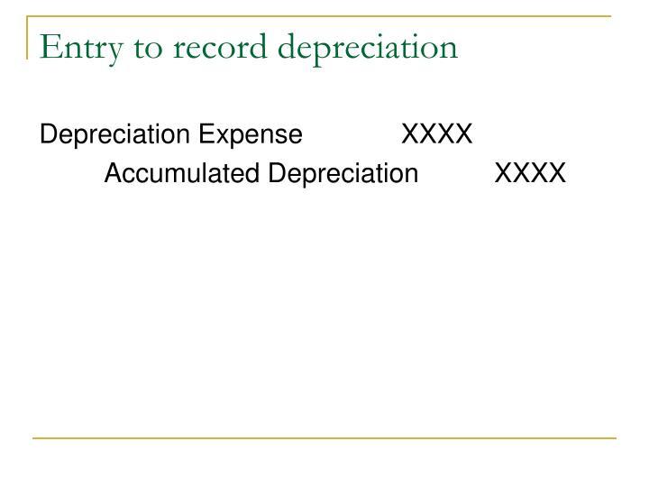 Entry to record depreciation