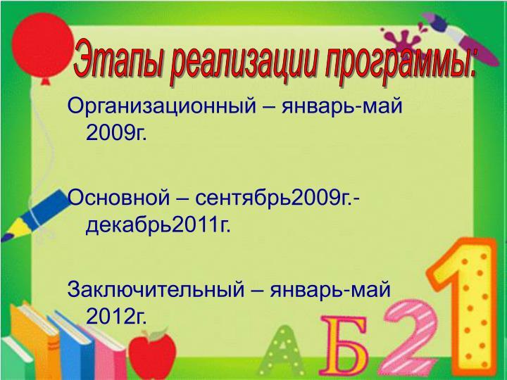 Организационный – январь-май 2009г.